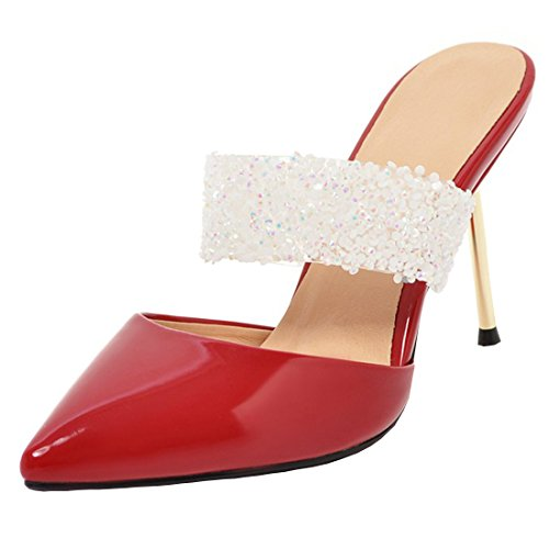 Glitter on Party Slippers Sandals High Outdoor Pointed Stiletto Pumps Red Heels Artfaerie Slip Mules Toe zqv4nA