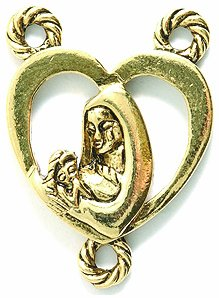 (Shipwreck Beads Pewter Center Rosary Heart Shape Charm, 24mm, Metallic, Antique Gold, 2-Piece)
