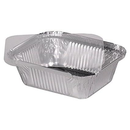 """100 bandejas de aluminio cuadrado pequeño + tapa de plástico (PET) modelo """""""