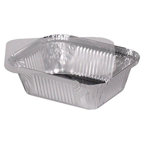100 bandejas de aluminio cuadrado pequeño + tapa de plástico ...