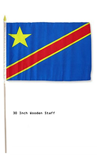 (ALBATROS 12 inch x 18 inch Democratic Rep Congo Country Stick Flag 30in with Wood Staff for Home and Parades, Official Party, All Weather Indoors)