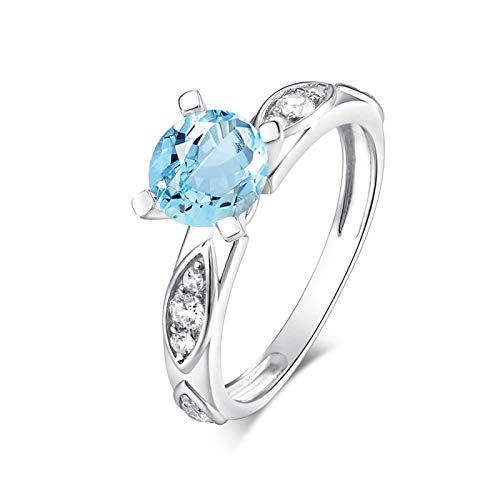 EoCot Custom Size Silver Plated Ring for Women Round Shape Blue Topaz White Gold Round Wedding Band Anniversary Ring Size - Gold Ct Blue Topaz Ring White 4 14k