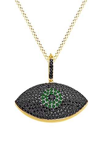 Vvs1 Eye - AFFY Round Cut Simulated Black Spinel & Green Emerald Evil Eye Pendant Necklace In 14k Yellow Gold Over Sterling Silver