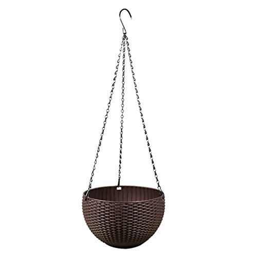 Flower Pot, Hmane Round Mimetic Rattan-woven Pattern Hanging Plastic Flower Pot Self-watering Scindapsus Plant Holder - Coffee