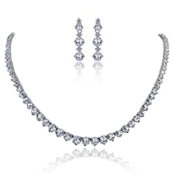 EVER FAITH Mother's Gift Wedding Bridal Round Prong Clear CZ Necklace Earrings Set Silver-Tone from Ever Faith