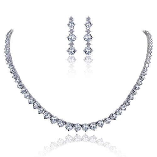 EVER-FAITH-Wedding-Bridal-Round-Prong-Clear-CZ-Necklace-Earrings-Set-Silver-Tone