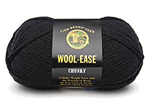 Lion Brand Wool-Ease Chunky Yarn (153) Black, Black