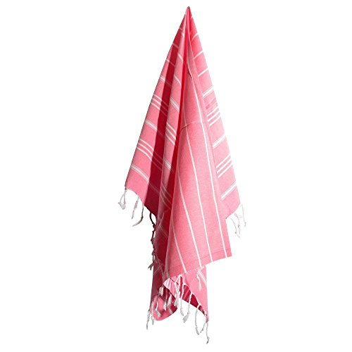 - LaModaHome Turkish Hand Towel Set of 4 Organic Cotton Face Gym Spa Sauna Kitchen Peshtemal Towels Fast Dry Antibacterial Soft Luxury Pestemal 20 x 40 Inches, Pink White