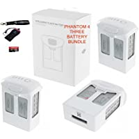 DJI Phantom 4 Battery Bundle, includes 3 DJI Original CP.PT.000342 Phantom 4 Batteries, Transcend 32gb MicroSD Memory Card, Camrise Lanyard and Camrise USB Reader