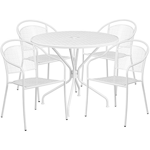 (Flash Furniture 35.25'' Round White Indoor-Outdoor Steel Patio Table Set with 4 Round Back Chairs)