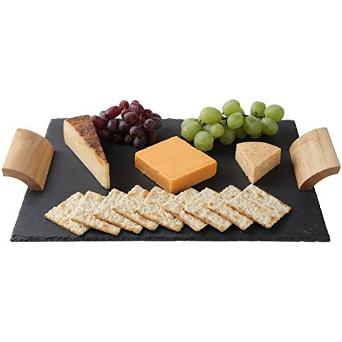 Lily's Home Rustic Slate Cheese Board with Wooden Handles and Chalk, Cheese Tray, 16 X 12 Inch. (Love Round Serving Plate)
