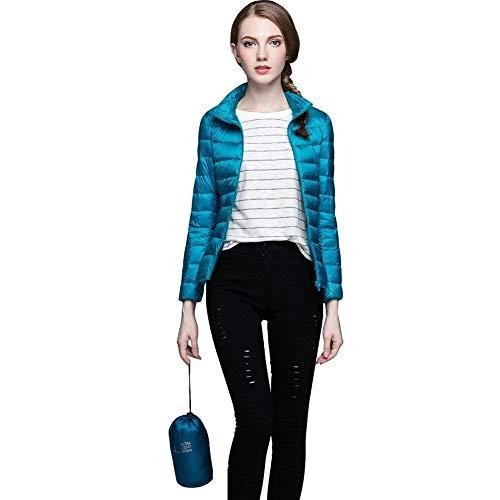 Chic Lunga Ragazza Leggero Accogliente Piumini Moda Fit Elegante Donna Piumino Blau Cappotto Cerniera Con Tasche Monocromo Casual Laterali Hot Corto Outerwear Manica Invernali Slim q04Pwq