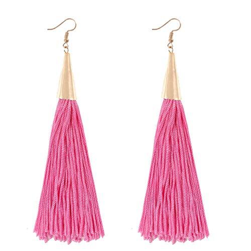 boderier Gold Cone Swingy Tassel Drop Earrings Elegant Dangle Earrings for Women Wedding Party Jewelry (Pink)