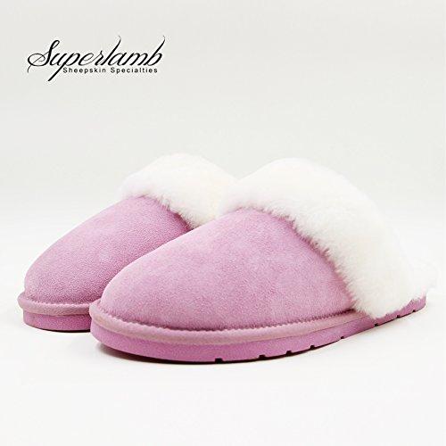 Sheepskin Scuff Slipper (L(8-9), PINK)