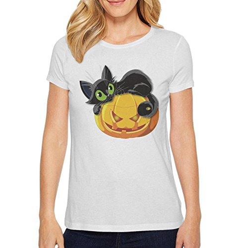 Womens's halloween pumpkin with cat Short Sleeve Halloween Pumpkin With T-shirt coolTee Shirt for $<!--$19.56-->