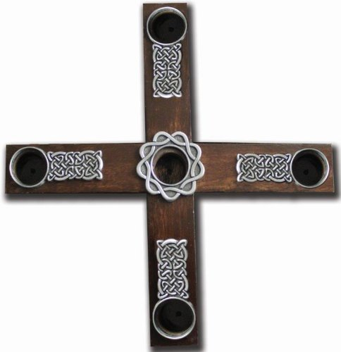 Cathedral Art AD133 Celtic Knot Wood Cross Advent Wreath Candle Holder, 8-Inch Diameter (Wood Celtic Cross)