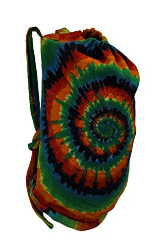 Zeckos Cotton Basic Multipurpose Backpacks Spiral Tie Dye Oversize Cotton Beach Bag 12 X 25 X 12 Inches (Recycled Drawstring Backpack)