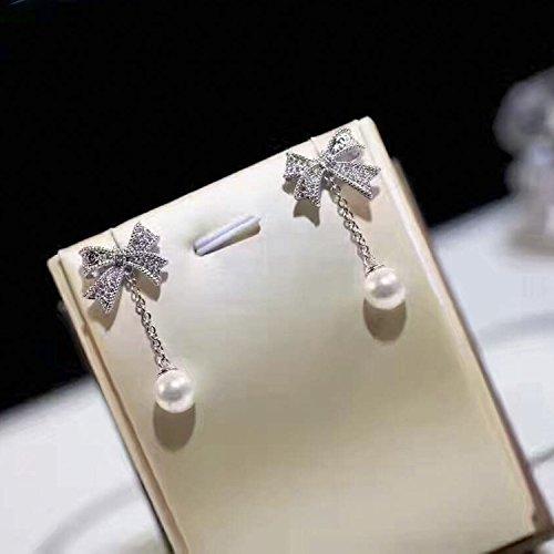 (s925 silver needle earrings star earrings elegant tassel earrings Micro Pave butterfly knot Pearl Girls long section)