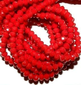 Steven_store CR180 Red Coral Opaque 4mm Rondelle Faceted Cut Crystal Glass Beads 12