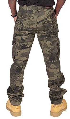 Pantaloni Cargo Uomo - Mimetica Verde scuro camouflage verde Combat militari LOGAN