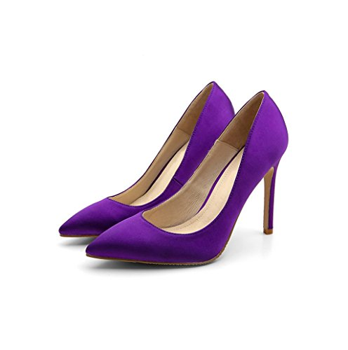 Vintage Green Lady Satin High Heels Shallow Mouth Pointed-Toe Elegant Sandals Sexy Bride Purple Wedding Shoes 8.5/10.5cm (Color : Purple 10.5cm, Size : 36)
