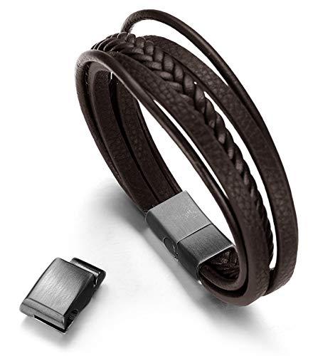 Halukakah Basics ● Road Trip ● Men's Genuine Brown Leather Multilayer Bracelet Titanium Black Magnetic Clasp Size Adjustable 8.5