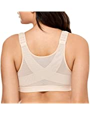 DELIMIRA Women's Full Coverage Front Closure Wire Free Back Support Posture Bra