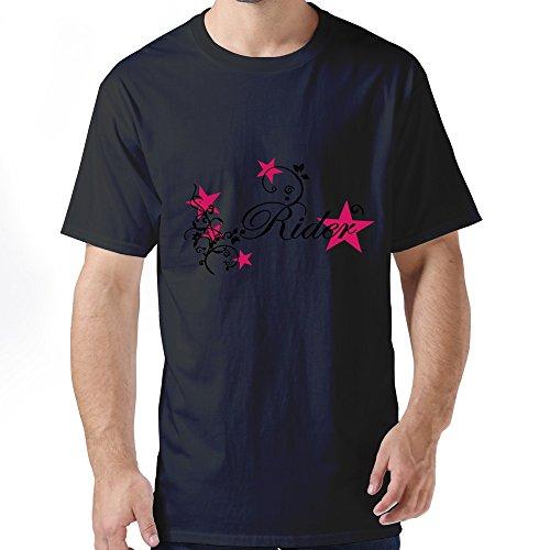 EnHui Make Custom Men Rider Flora Tribal Star O Neck Tshirt Medium Black