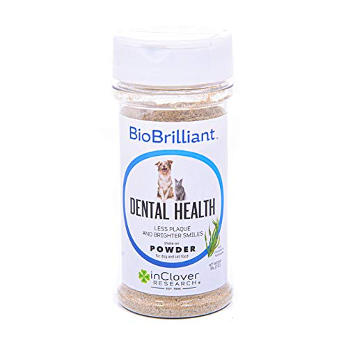 In Clover BioBrilliant Dental Powder for Dogs and Cats Blend of Natural antibacterials, enzymes, Saliva promoters and Breath freshener. Prevent Bacteria and Plaque Build-up and Gum-line Irritation.