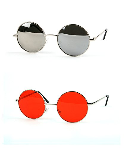 John Lennon 60's Vintage Round Hippie Sunglasses (2 pcs Silver-Mirror & - Lennon Mirror Mirror John