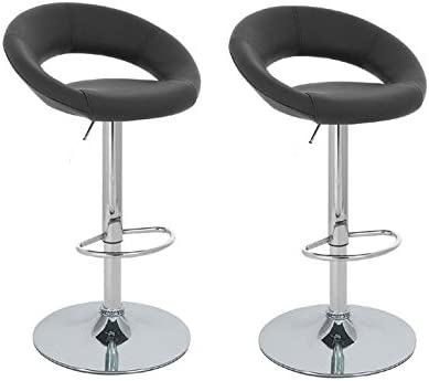 2 Black Modern Adjustable Counter Swivel Pub Style Bar Stools Barstools Black