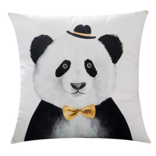 PANDICORN Silky Soft Velvet Panda Decorative Throw Pillow Covers, Cute Throw Pillows Case for Kids Room Girls Boys, Black and White Square Cushion Cover 18 x 18 Inch