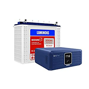 Luminous Zolt 1100 Pure Sine Wave Inverter with Red Charge RC 25000 200 Ah Tall Tubular Battery for Home, Office & Shops…
