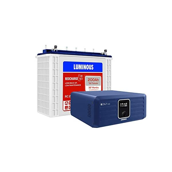 Luminous Zolt 1100 Pure Sine Wave Inverter with Red Charge RC 25000 200 Ah Tall Tubular Battery for Home, Office & Shops… 2021 June [Inverter] type: pure sine wave; capacity: 900 va; maximum bulb load: 756 watt Display: lcd display for the status of power back-up, battery charging time in hours and minutes Processor: India's most intelligent home inverter with 32 bit dsp processor