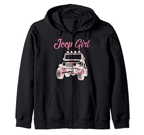 Jeeps Girl Off Road Lover Funny 4x4 Wave Flower Gift Zip Hoodie Black Off Road Coat