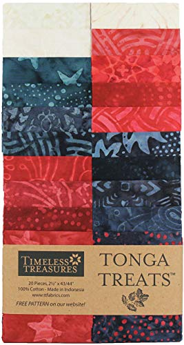 Timeless Treasures Tonga Batik Treat 2.5'' Strip Pack Patriot ()