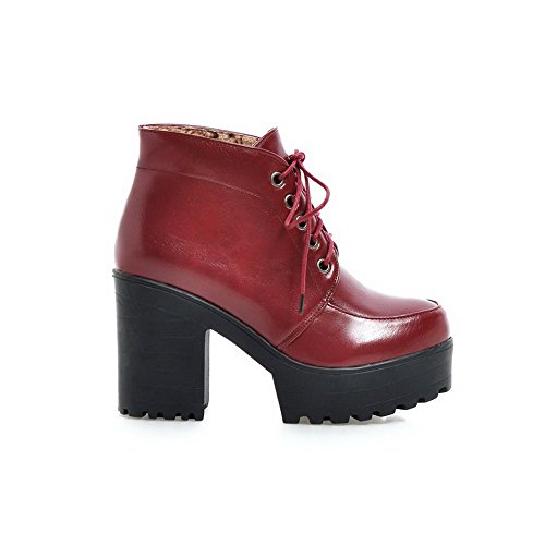 AgooLar Women's Solid PU High-Heels Lace-up Round Closed Toe Boots Claret 0O7kb9