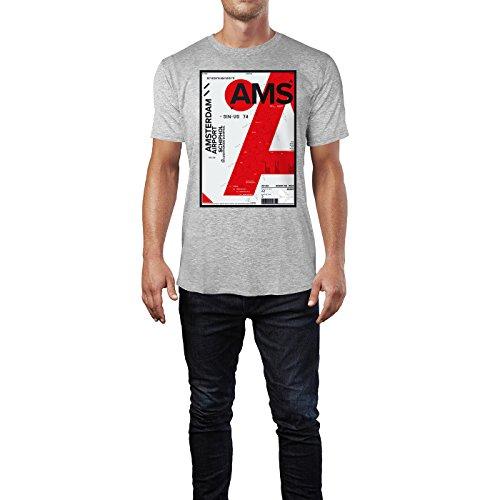 SINUS ART ® Amsterdam Airport Luchthaven Schiphol Herren T-Shirts in hellgrau Fun Shirt mit tollen Aufdruck