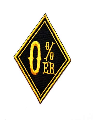 Nipitshop Patches Yellow 0% ER Words Patch Funny Words Rider Motorcycle Biker Patch Embroidered Iron On Patch for Clothes Backpacks T-Shirt Jeans Skirt Vests Scarf Hat Bag