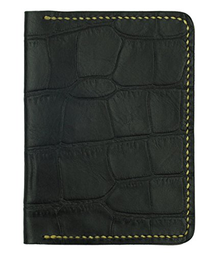 Leather Passport Cover, Black Crocodile Grain Leather w/ Tan Interior, Handmade (Holder Crocodile Passport)