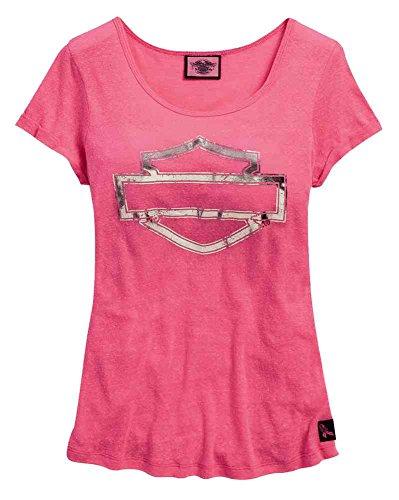 HARLEY-DAVIDSON Womens Tee, Pink Label Metallic Bar & Shield, Pink 99119-15VW