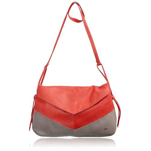 Mamix - Bolso cruzados de Piel Lisa para mujer rojo rojo 32 x 20 x 7.5 cm