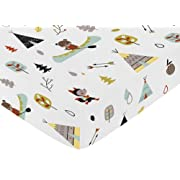 Sweet Jojo Designs Fitted Crib Sheet for Outdoor Adventure Baby/Toddler Bedding - Nature Fox Bear Animals Boys Print