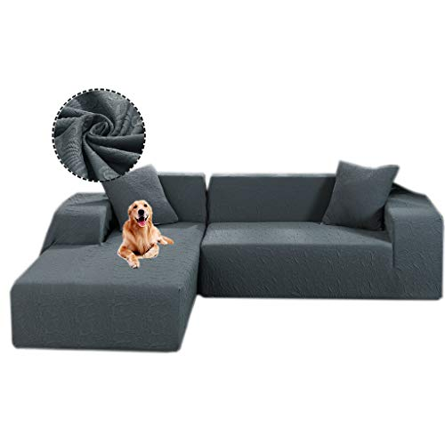 Gatycallaty Anti-Wrinkle L-Shaped Sectional Sofa Slipcovers;Anti-mite L Sofa Covers for Pets Dogs Kids Living Room (Grey, L-Shaped(3-Seater+3 Seater))