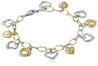 14k Gold-Bonded Sterling Silver Two-Tone Heart Charm Bracele