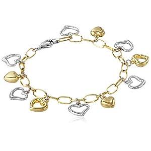 "14k Gold Bonded Sterling Silver Two Tone Heart Charm Bracelet, 7"""