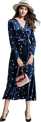 Ababalaya Women's Elegant 90s Retro Velvet V-Neck Polka Dots Mermaid Evening Gown - Polka Dots Retro