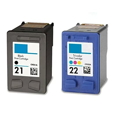 2 PACK Remanufactured Ink Cartridge Replacement for HP 21/22 C9351A C9352A Ink for Deskjet F2100 F2210 F2280 F4135 F4140 F4180