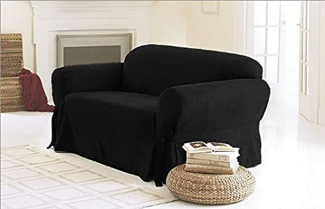 Green Living Group Chezmoi Collection Soft Micro Suede Solid Couch/Sofa Cover Slipcover with Elastic Band Under Seat Cushion, Black