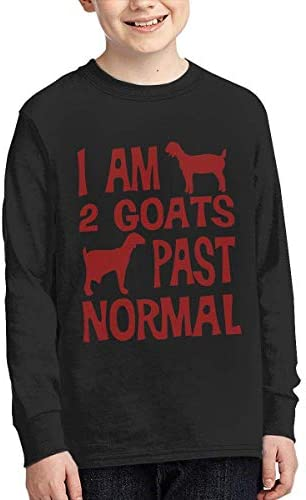 Laura Longman Boys' Plain Long Sleeve Crew Neck Cotton I Am 2 Goats Past Normal Tee Top